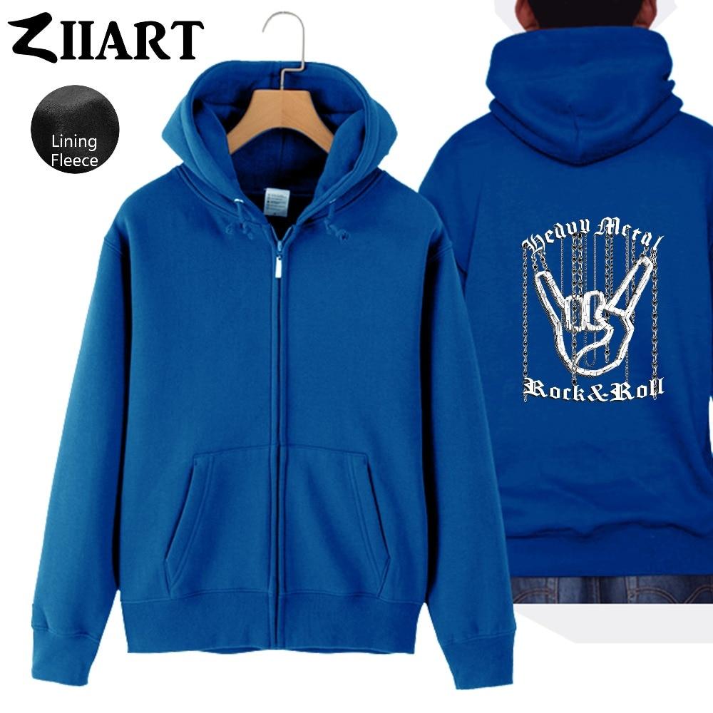 Chain Hand Gesture Heavy Metal Rock N Roll Corna Devil 39 s Horns Man Boys Full Zip Autumn Winter Fleece Hooded Coat Jackets ZIIART in Jackets from Men 39 s Clothing