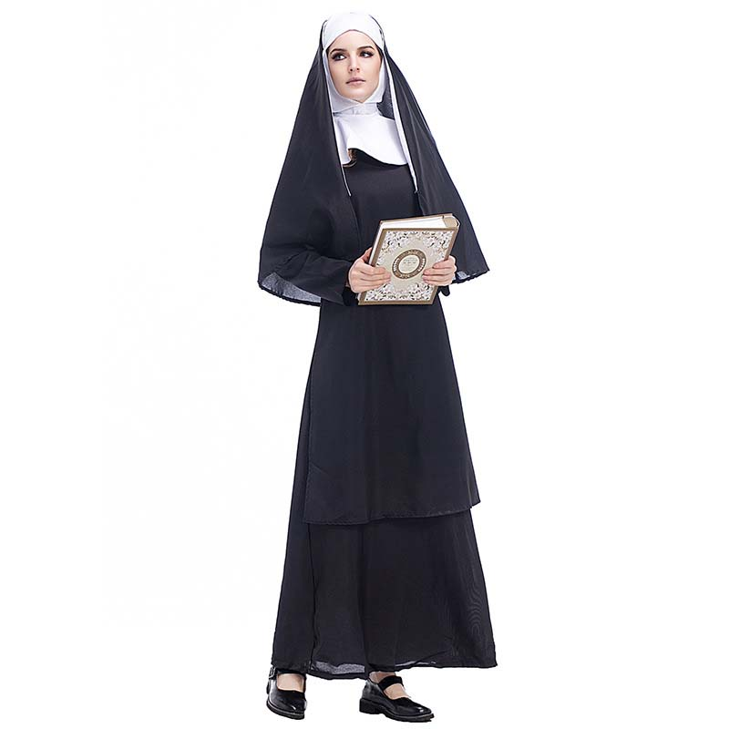 The Nun Costume Cosplay Adult Long Black Scary Nuns Ghost Clothes Uniform Horror Halloween Party Costume DropShipping3