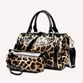 Charol genuina mujer Messenger Bag moda partido de señora en piel de noche de la mujer bolsa mujer leopardo asas Casual envío gratis