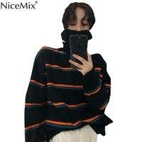 NiceMix Autumn Harajuku Women Vintage Sweaters And Pullovers Turtleneck Stripe Jumpers Korean Streetwear Pull Hiver Femme 2019