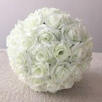 30CM/ 12'' Hanging Decorative Flower Ball Centerpieces Cloth Rose Wedding Kissing Balls Wedding Decoration Ball