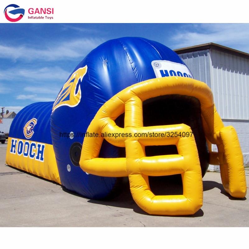 Durable meilleure qualité offre spéciale casque de football gonflable tunnel grand casque de football gonflable avec tissu oxford