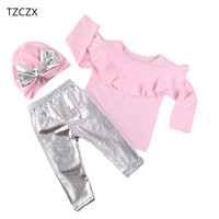 TZCZX 2420 New Children Baby Girls Fashion Solid O Neck Pullover Sets For 6 Month To