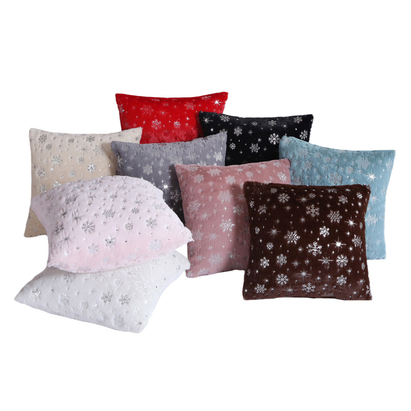 Decorative Pillows 45x45cm Silver Snowflake Cushion Cover Plush Throw Pillow Case Seat Sofa Bed Pillow Case For Living Room New