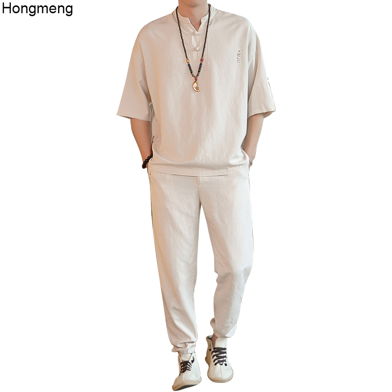 Mens Linen Cotton Summer Suit Beige Chinese Style Half Sleeve Shirt + Full Length Pants Thin M-4XL Drop Shipping