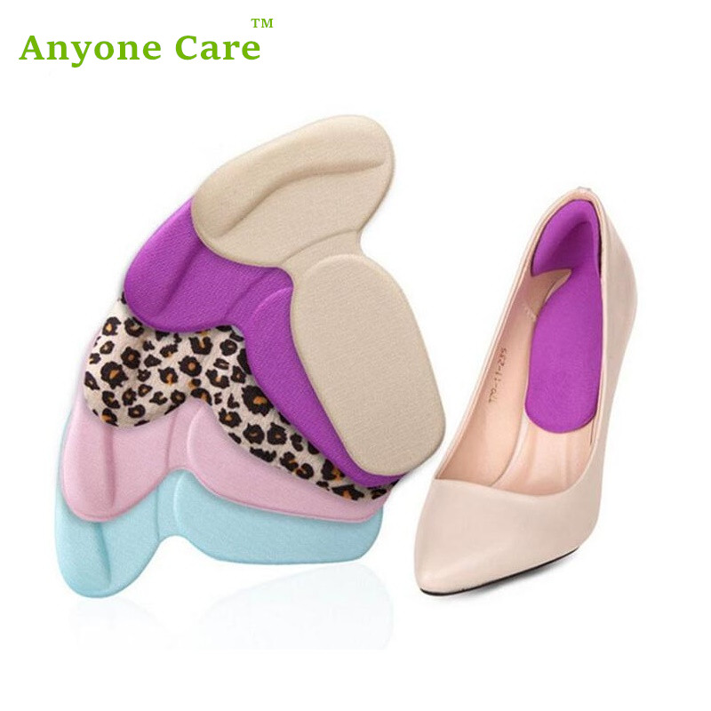 1 Pair Women Foot Care Heels Silica Gel Pad Protect insoles self-adhesive Anti-friction T shape orthopedic shoes heel pads