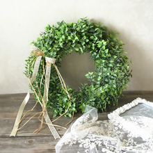 Artificial Green Leaves Wreath 40 cm Front Door Wreath Shell Grass Boxwood Wreath For Wall Window Party Decor 29 napkin grass wiper soft microfiber 40 40 cm it 0352