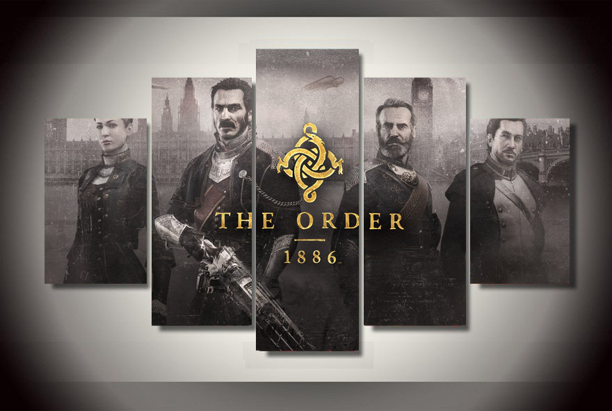 framed printed the order 1886 movie painting on canvas room decoration print poster picture canv. Black Bedroom Furniture Sets. Home Design Ideas