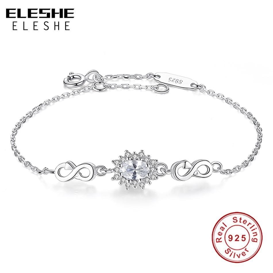 6e80f3a32597 ELESHE 925 de plata esterlina infinito pulsera de encanto con cristal  redondo ajustable pulseras para las mujeres joyería regalo de Navidad