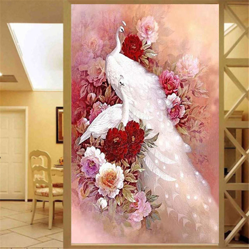 DIY 5D Diamond Embroidery Animal White Peacock 3D Diamond Painting Flower Cross Stitch Full Rhinestone Package