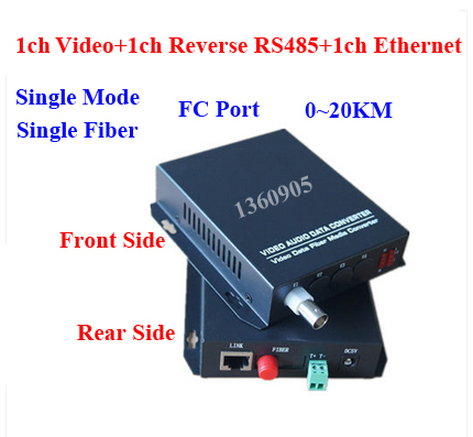 1V1D1E Security video data Ethernet optical Fiber Media Transceiver 1ch Video + 1ch RS485 data +1ch 10 / 100M Ethernet  FC 20KM new 1ch hdsdi multifunction optical media converter 1080p transceiver video ethernet rj45 rs485 data audio over single fiber
