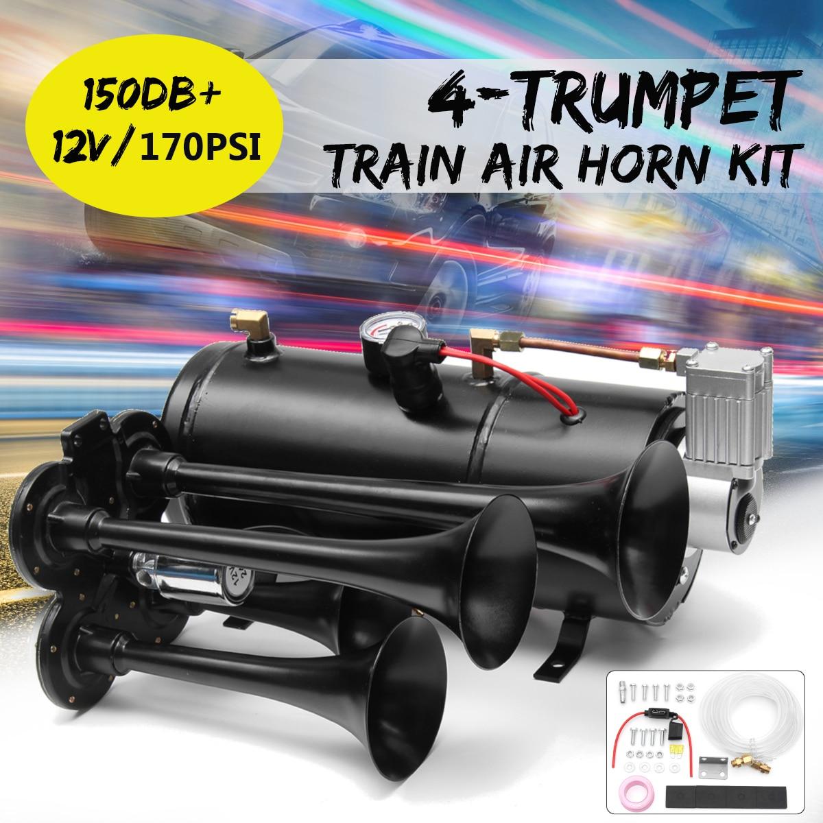 Black Truck Train Quad 4 Trumpet Air Horn Kit 150 PSI 12V 3Liters Compressor & House цена