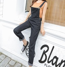 792a3654536f S-5XL Washed Denim Overalls Women Casual Plus Size Loose Black Jumpsuit  Pants Thin Strap