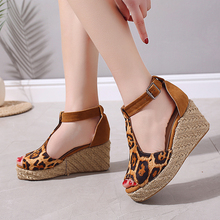 Plus Size 35-43 Sandales Femme 2019 Nouveau Women Gladiator Nubuck Leather Shoes High Heel 8cm Summer Peep Toe Wedges Sandals