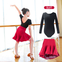 New Children Latin Ballroom Dance Dress Girls Performance Latin Suit Kids Dance Top & Skirt Sets Latin Competition Costumes