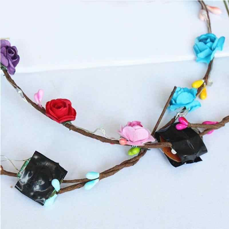 Coloré fête de noël guirlande lumineuse Halloween couronne fleur bandeau femmes filles lumière LED Up cheveux couronne bandeau guirlandes