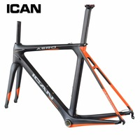 Ican Full carbon frame bb86&di2 compatiable Carbon bike frame customized painting 1050g road bike frame fork AERO007