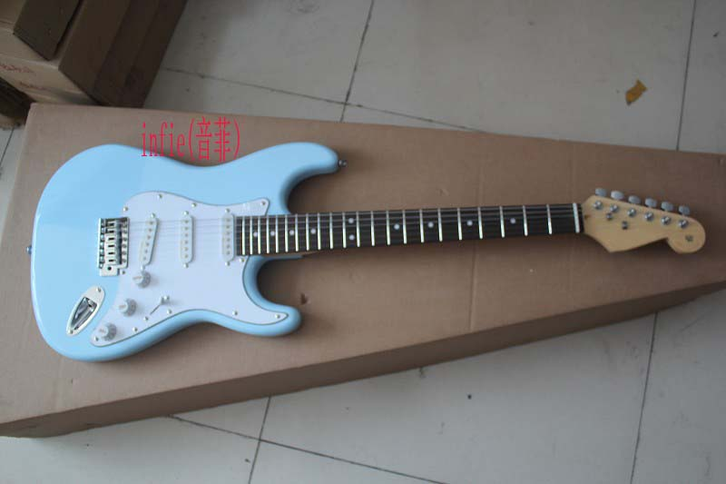 new 6 string fd stratocaster electric guitar sky blue fingerboard maple guitar s s s noise. Black Bedroom Furniture Sets. Home Design Ideas
