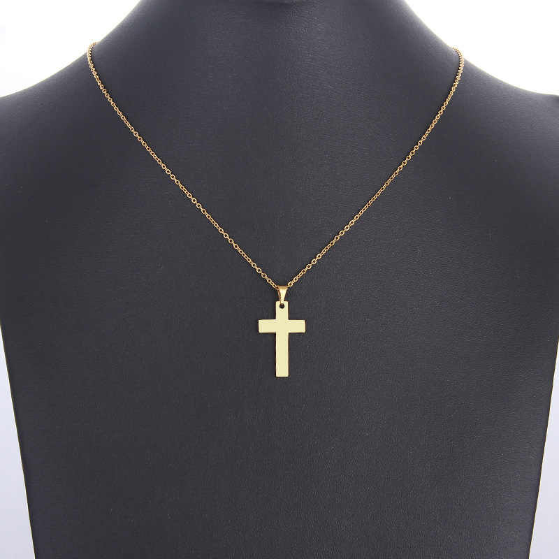 DOTIFI Stainless Steel Necklace For Women Man Lover's Cross Gold And Silver Color Pendant Necklace Engagement Jewelry