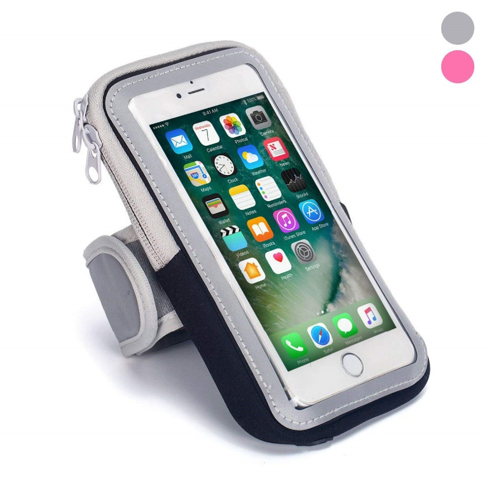Cell Phone Holder Case Arm Band Strap With Zipper Pouch