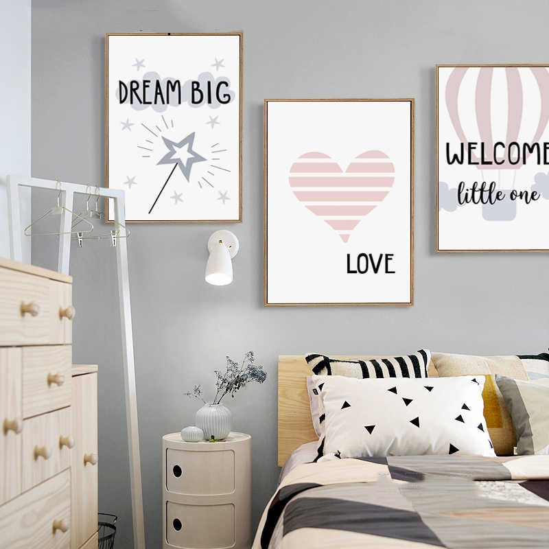 Canvas Painting Printed Modern Home Decoration Cute Cartoon Love Swan Bunny Phrase Wall Artwork Modular Pictures Poster Bedroom