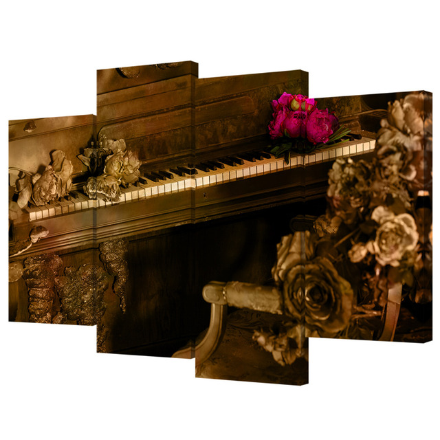 Visual Art Decor 4 Panels Wall Music Theme Piano Key Picture Sepia Tone Instrument Painting Canvas Prints Rustic Home