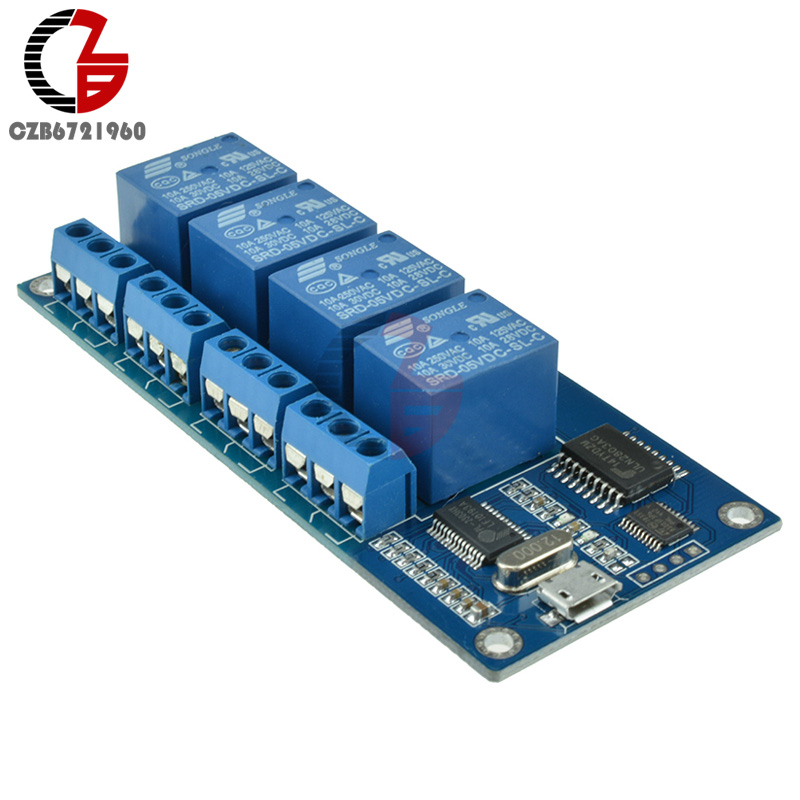 Micro USB Relay Module 5V 4 Channel Relay Module Relay Control Panel with Indicator 4 Way Relay Output USB Interface 1pcs 5v 1 2 4 8 channel relay module with optocoupler relay output 1 2 4 8 way relay module for arduino