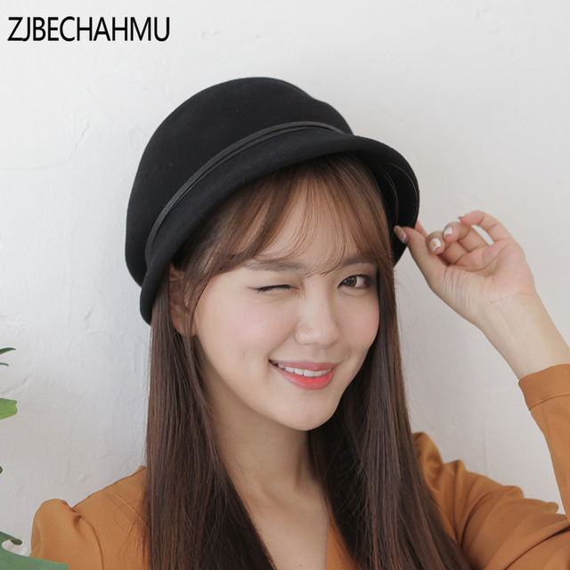 1a6b35879f6 ZJBEHAHMU Hats New Fashion Vintage Elegant Wool Solid Fedoras Wide Brim For  Women Girl Spring Autumn Hip Hop Caps Snapback Hat