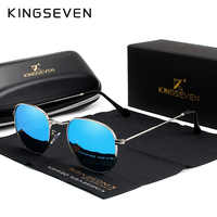 Kingseven clássico designer redondo óculos de sol feminino retro reflexivo óculos de sol dos homens redondos óculos polarizados