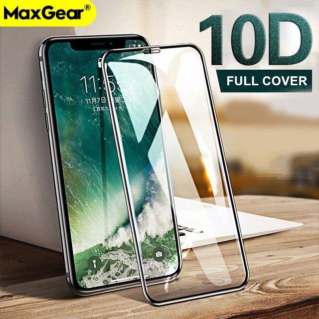 10D закаленное стекло на iPhone X 7 8 6 Plus экран протектор полное покрытие защитное стекло для iPhone 6S 7 XR XS Max Щит пленка