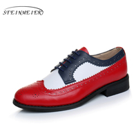 2017 Women Genuine Leather Oxford Shoes Handmade Blue Red White Sping Vintage British Style Oxfords Shoes