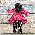 OUTONO/Inverno da rena do bebê cachecol set crianças terno de algodão do bebê meninas 3 pieces hot pink ruffles imprimir calças boutique roupa dos miúdos