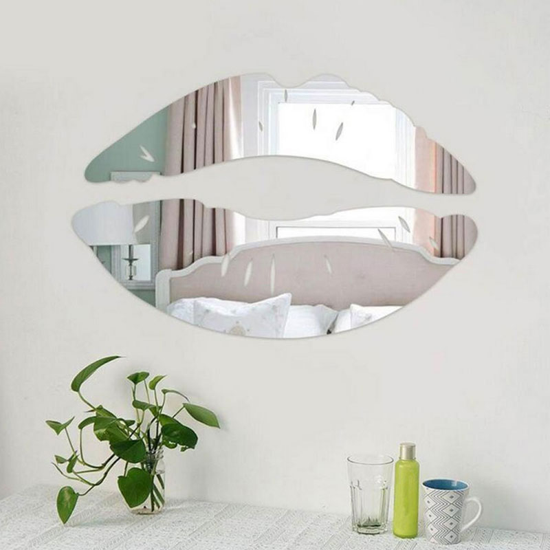 labios de plata espejo de pared d arte decal pegatinas para saln de decoracin del hogar