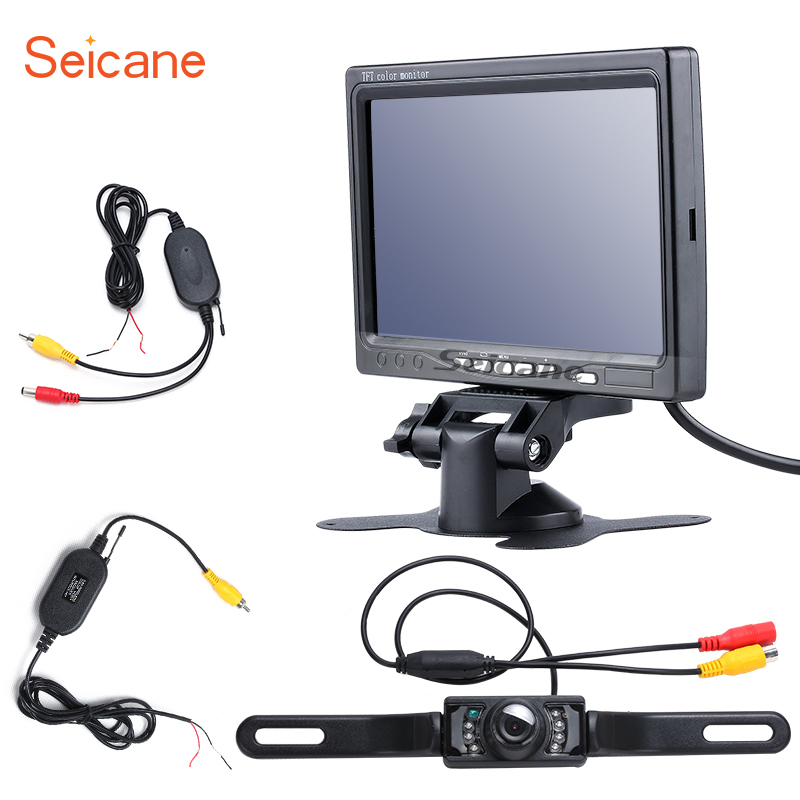 Seicane Universal 7 inch TFT LCD Car Auto Parking Monitor Backup Rearview Camera Video Recoder DVR Reverse System HD 1024*600