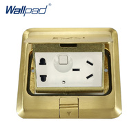 1 Gang 5 Pin Floor Socket Wallpad Luxury Copper and SS304 Panel Damping Slow Open For Ground With Mouting Box AC110 250V