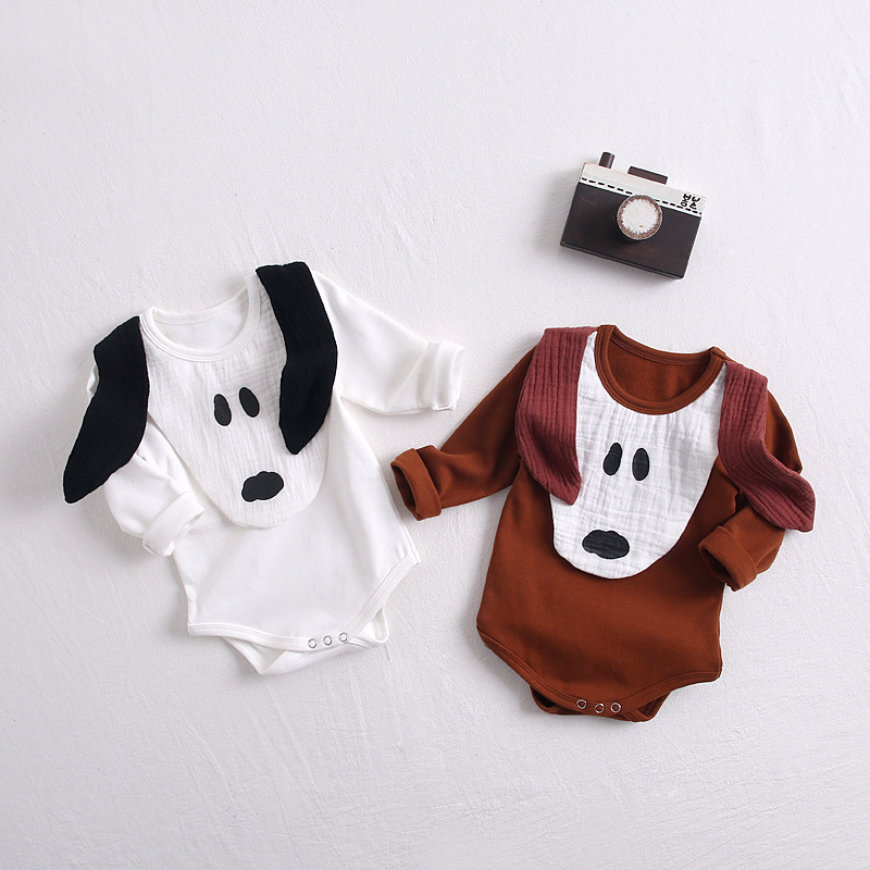 Baby Kids Cute Puppy Infant Ins New Holiday Rompers White Brown Color Long Sleeve Spring Summer