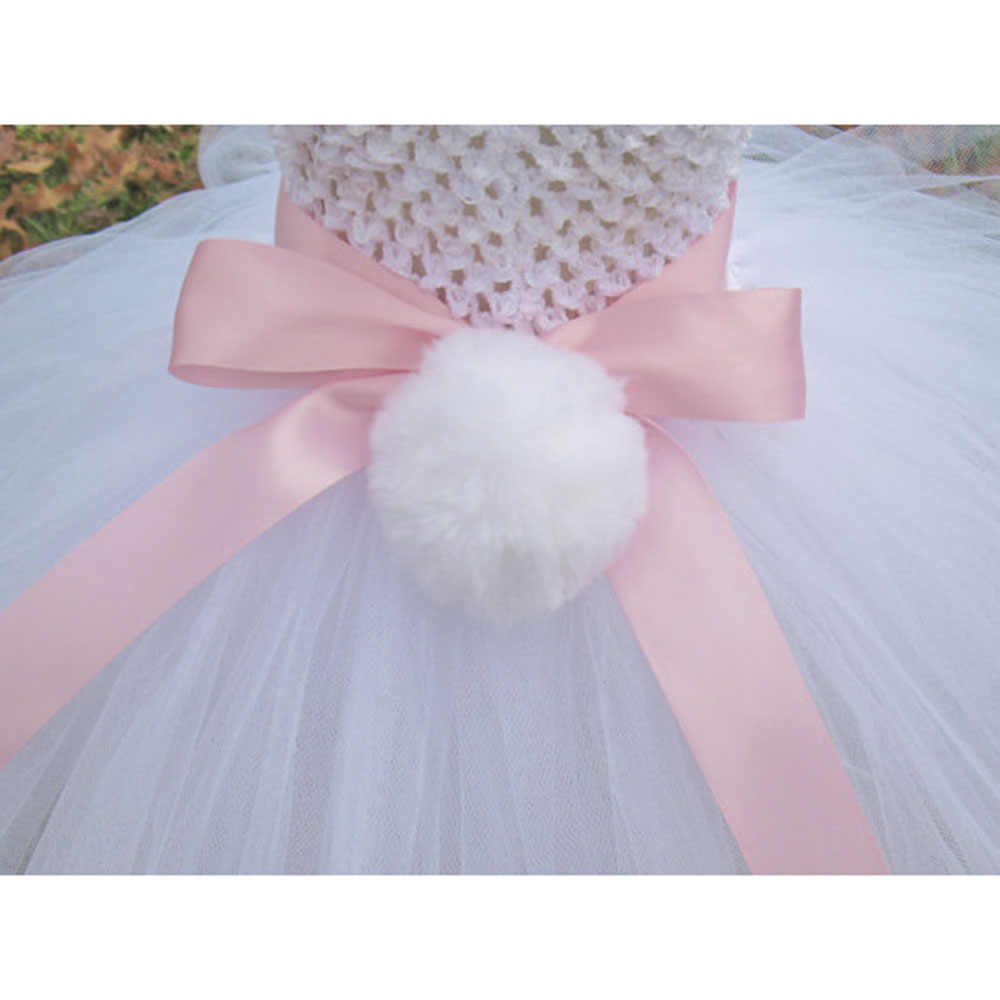 2edacba6ee731 ... Spring Girl Easter Bunny Dress Toddler Baby White Feather Rabbit  Cosplay Celebrate Custom With Pink Ear