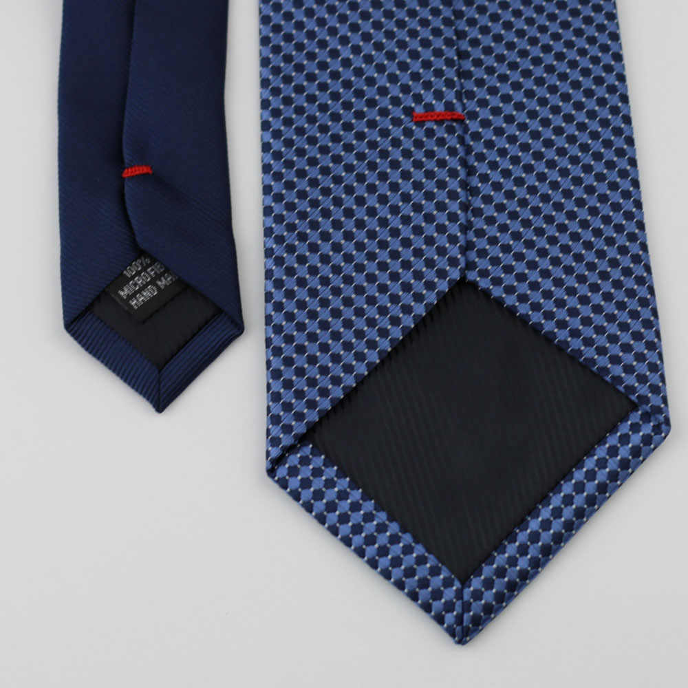 Coachella pria Desain Baru Navy Knot Kontras Biru Navy Polka Dots Dasi Resmi Dasi 8.5 cm