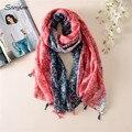 2017 tendências para as mulheres Lenço com Borla longo Hijab Sarja de Algodão Impresso cachecóis Wraps Foulard Bandana Cor Brilhante feminino D003