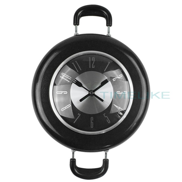 High Quality Wall Clock Metal Frying Pan Design 10 Inch Clocks Kitchen Decoration Novelty Art Watch Relogio pared Horloge Klok