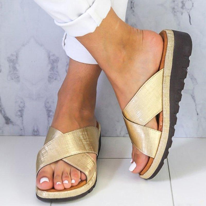 Women Slippers Slides Summer Beach Sandalias Outdoor Flip Flops Cross Tied 3.8cm Platform Sandals Women Wedges Plus Size 43