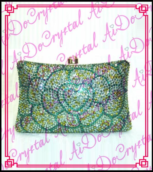 Aidocrystal green beaded flower pattern women s clutch handbag for party