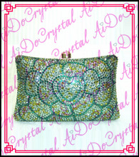 Aidocrystal  green beaded flower pattern women's clutch handbag for party