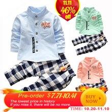 hot deal buy kids clothes boys clothing set 2pcs cotton shirt + plaid pants toddler boys clothing children suits baby boy clothes set 2016