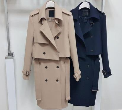 Women's Double Button Trench Women's Long Classic Windbreaker Trench Coat Spring Autumn Outwear Top + Dress Lady Fashion Coat