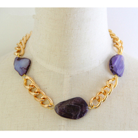 Aluminum Gold Plated Chain With 3 Nature Stones ID Necklace Statement Bib Collar Choker Necklaces For