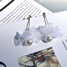 Fashion Simple Lace Simulated Pearl For Women Long Dangle Earrings Accessories Female Bride Wedding Jewelry Gift
