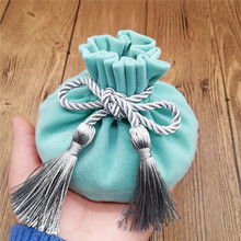 Купить с кэшбэком 6pcs/lot 12*17cm Velvet Gree color Jewellery Bags With Tassel Wedding candy Pouch large wedding gift bag Free shipping