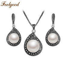 Feelgood Silver Color Vintage Jewelry Set Black Crystal And Imitation Pearl Water Drop Pendant Necklace And Earrings Sets(China)