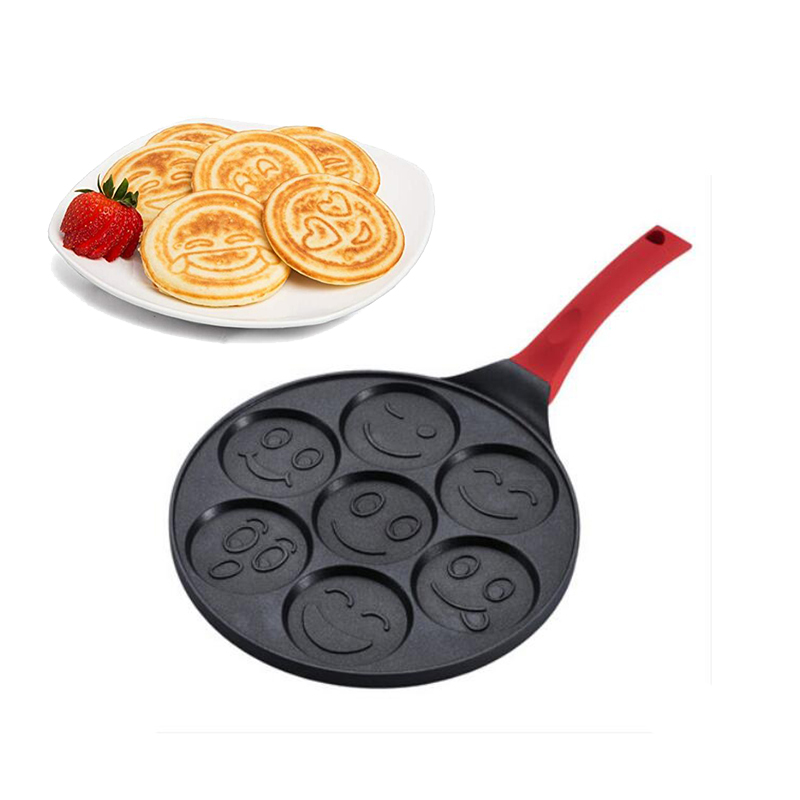 Pancake Maker Korean Non Stick Cooking Frying Pan Aluminium Alloy Smiley Face Style Easy Grill <font><b>Eggs</b></font> Mold Cookware image